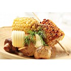 Grilled sweet corn and mushrooms