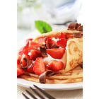 Crepes with sweet cheese and strawberries