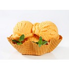 Orange sherbet in a waffle basket