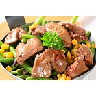 Chicken livers with green beans and corn