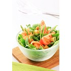 Salad greens with asparagus and smoked salmon