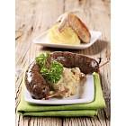 White pudding and mashed potato with peeled barley