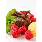 Mini chocolate cake with fresh raspberries and ice cream