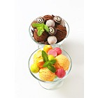 Ice cream coupes with chocolate truffles and pralines