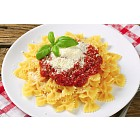 Pasta farfalle with tomato sauce and cheese