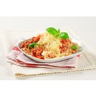 Spaghetti with minced meat and cheese