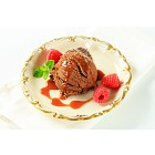 Chocolate ice cream with caramel sauce