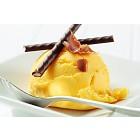Yellow ice cream with mint sticks