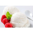 Scoops of white ice cream with raspberries