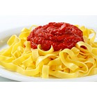 Tagliatelle pasta with tomato paste