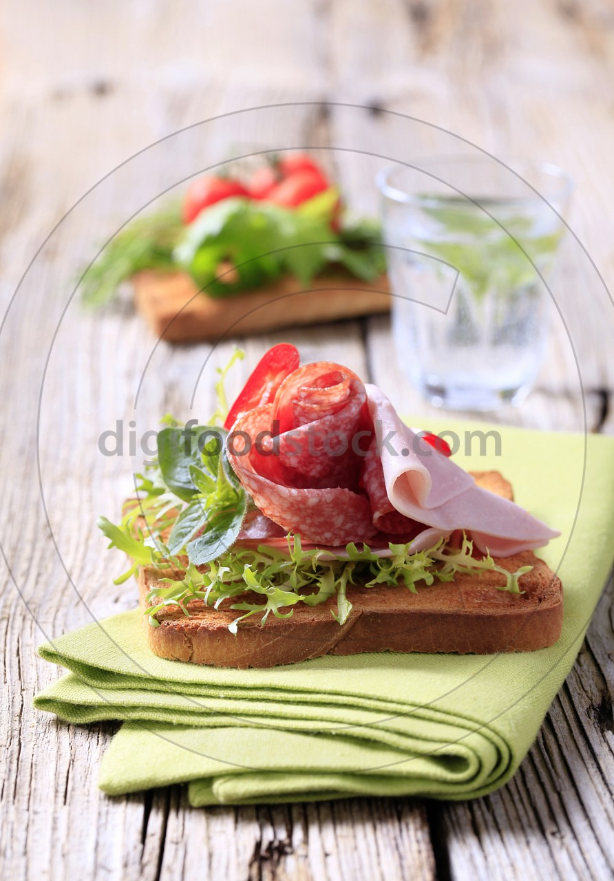 Ham and salami on toast