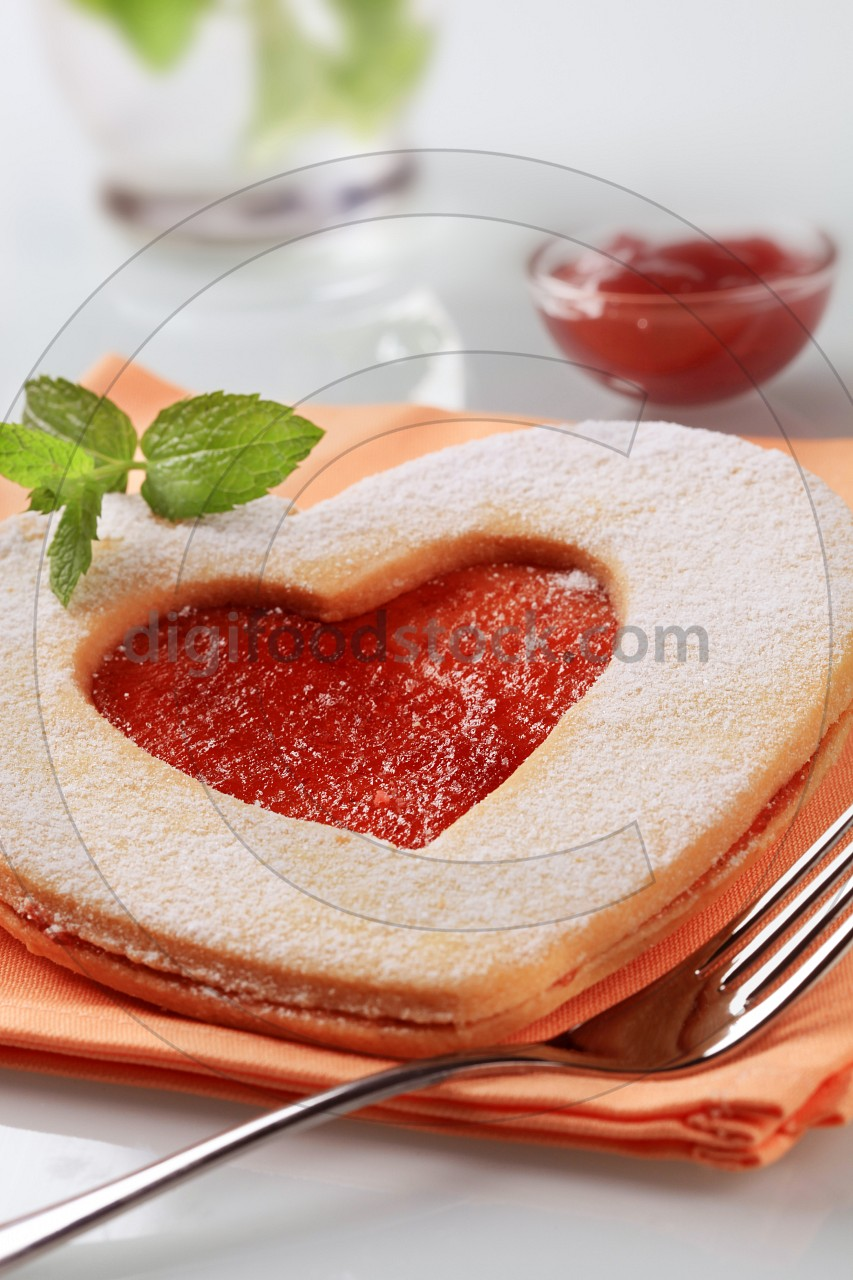 Heart shaped jam biscuit