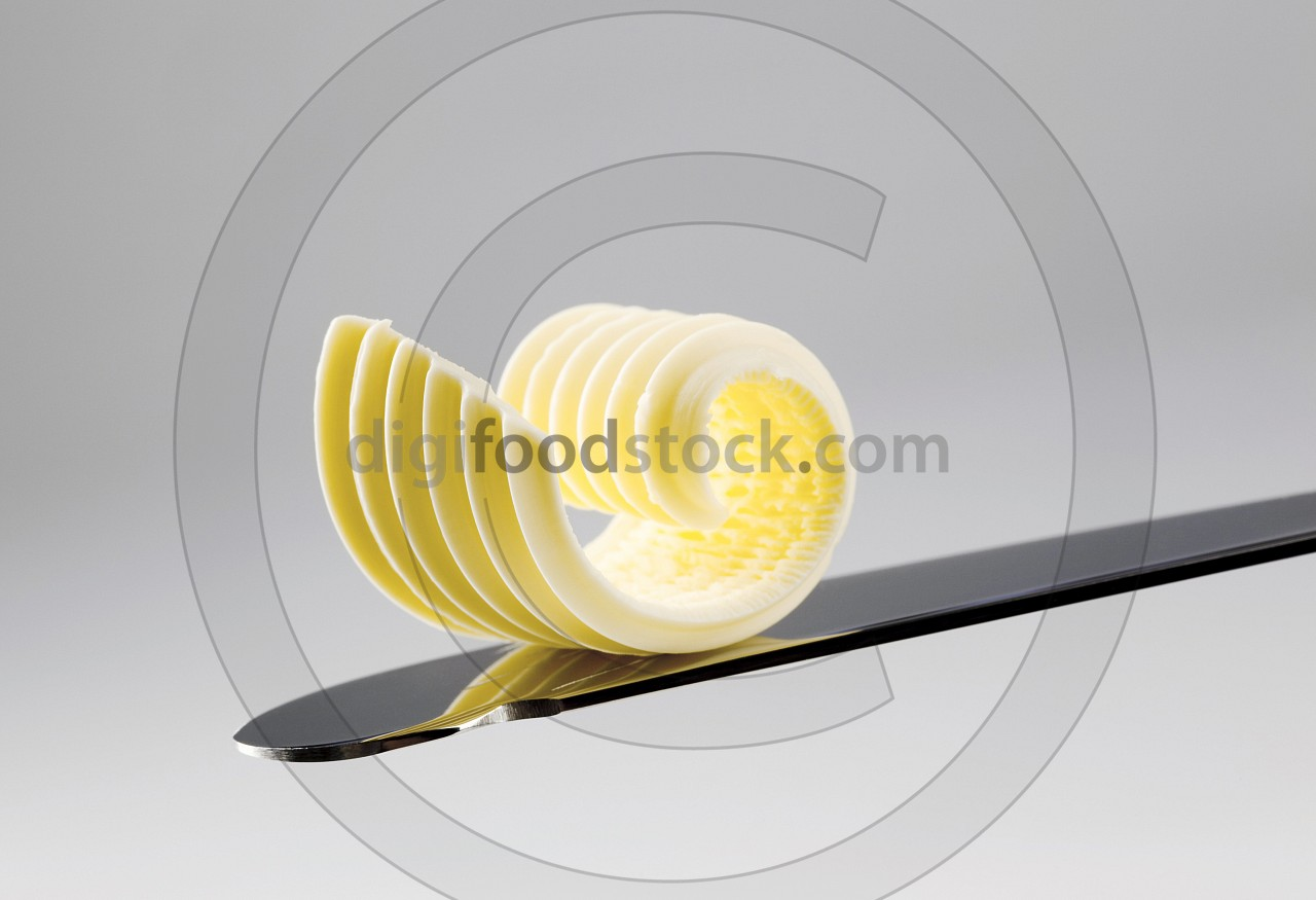 Butter curl on a knife
