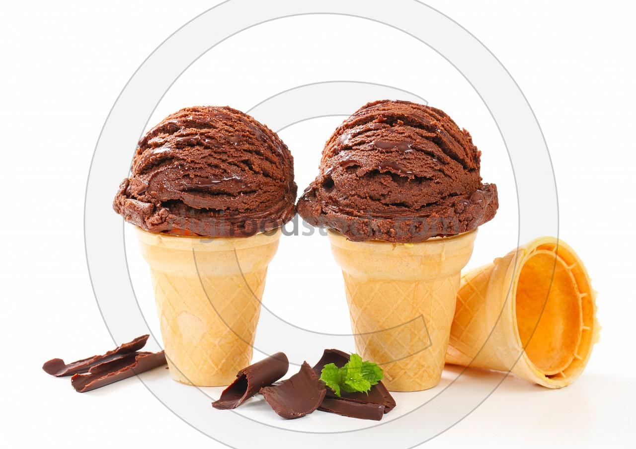 Chocolate ice cream cones