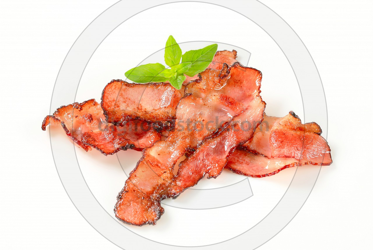 Pan fried bacon strips
