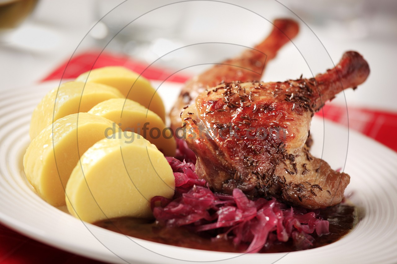 Roast duck, red cabbage and potato dumplings