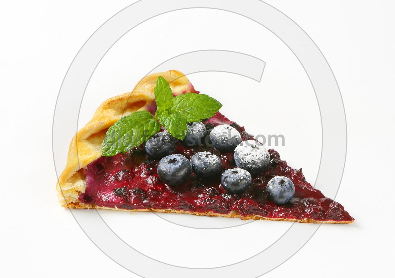 Slice of thin blueberry tart