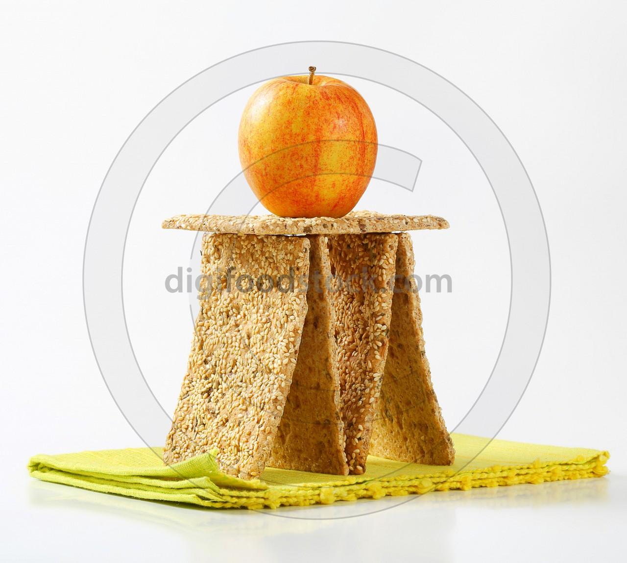 Sesame seed crackers and fresh apple