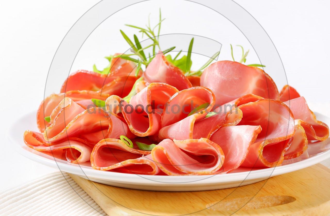 Sliced smoked pork ham