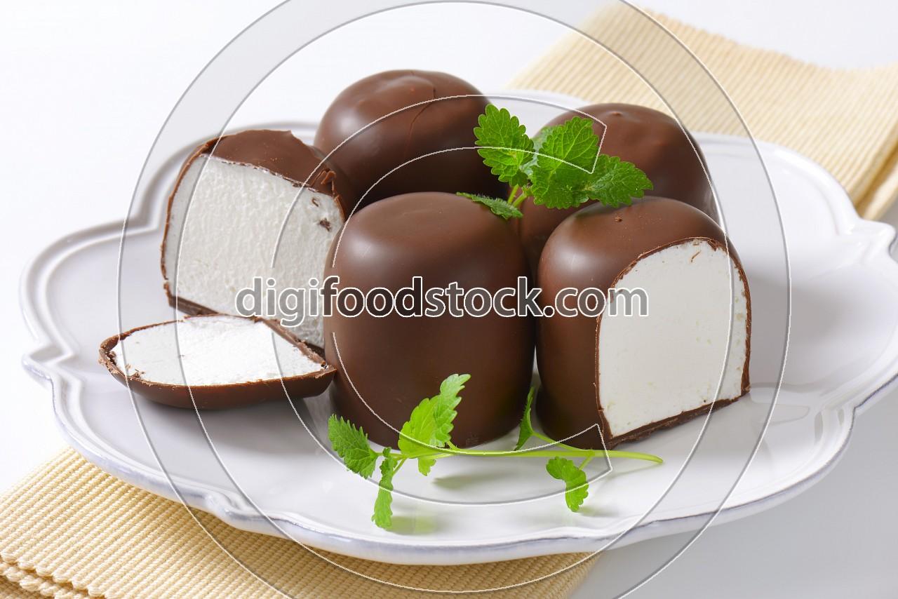 Chocolate-coated marshmallow treats