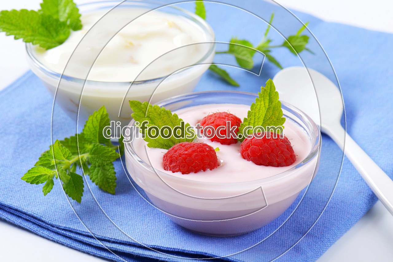 Light raspberry and white yogurt