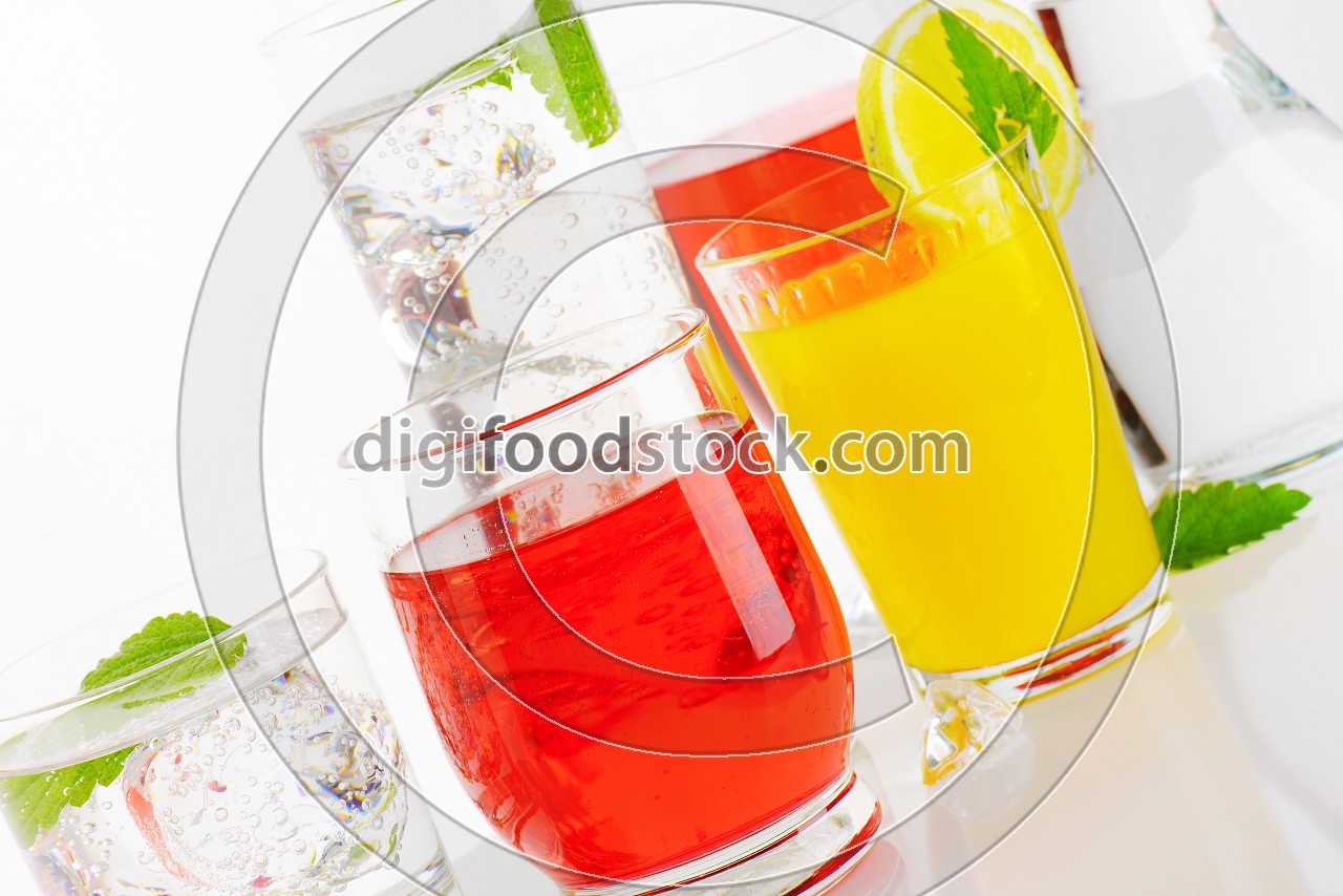 Variety of cold drinks