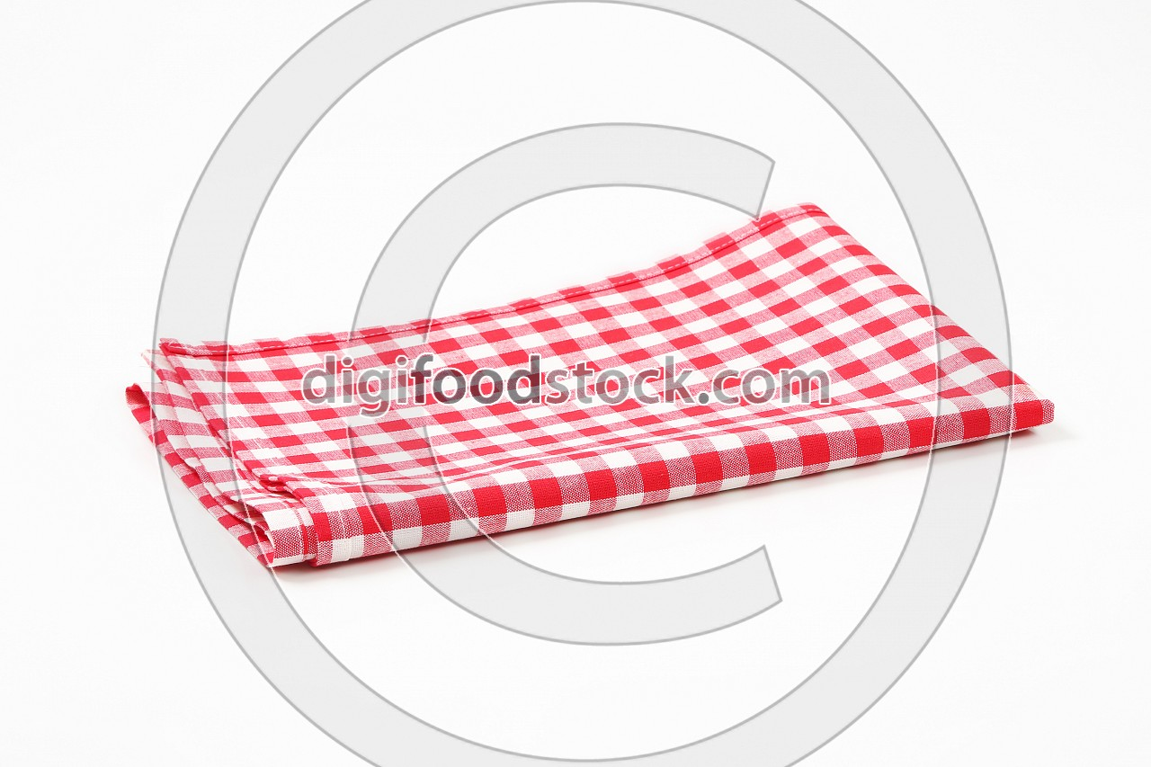 red and white tea towel