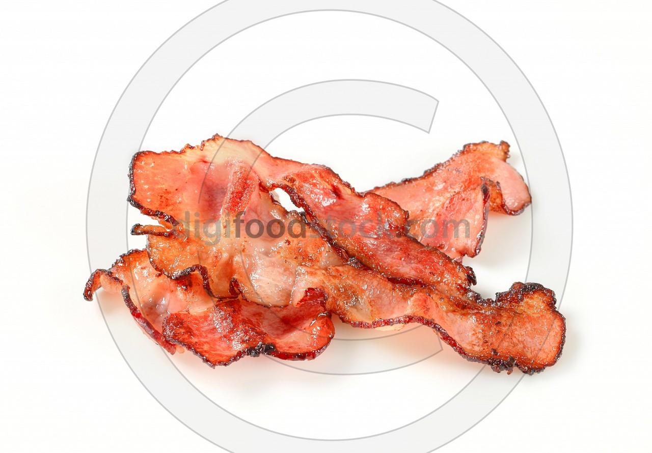 Pan fried bacon strips