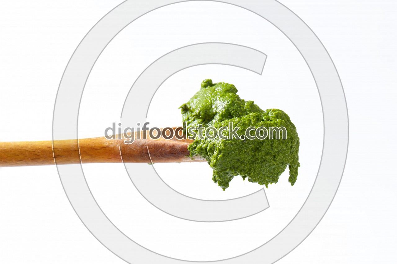 Spoon of spinach puree