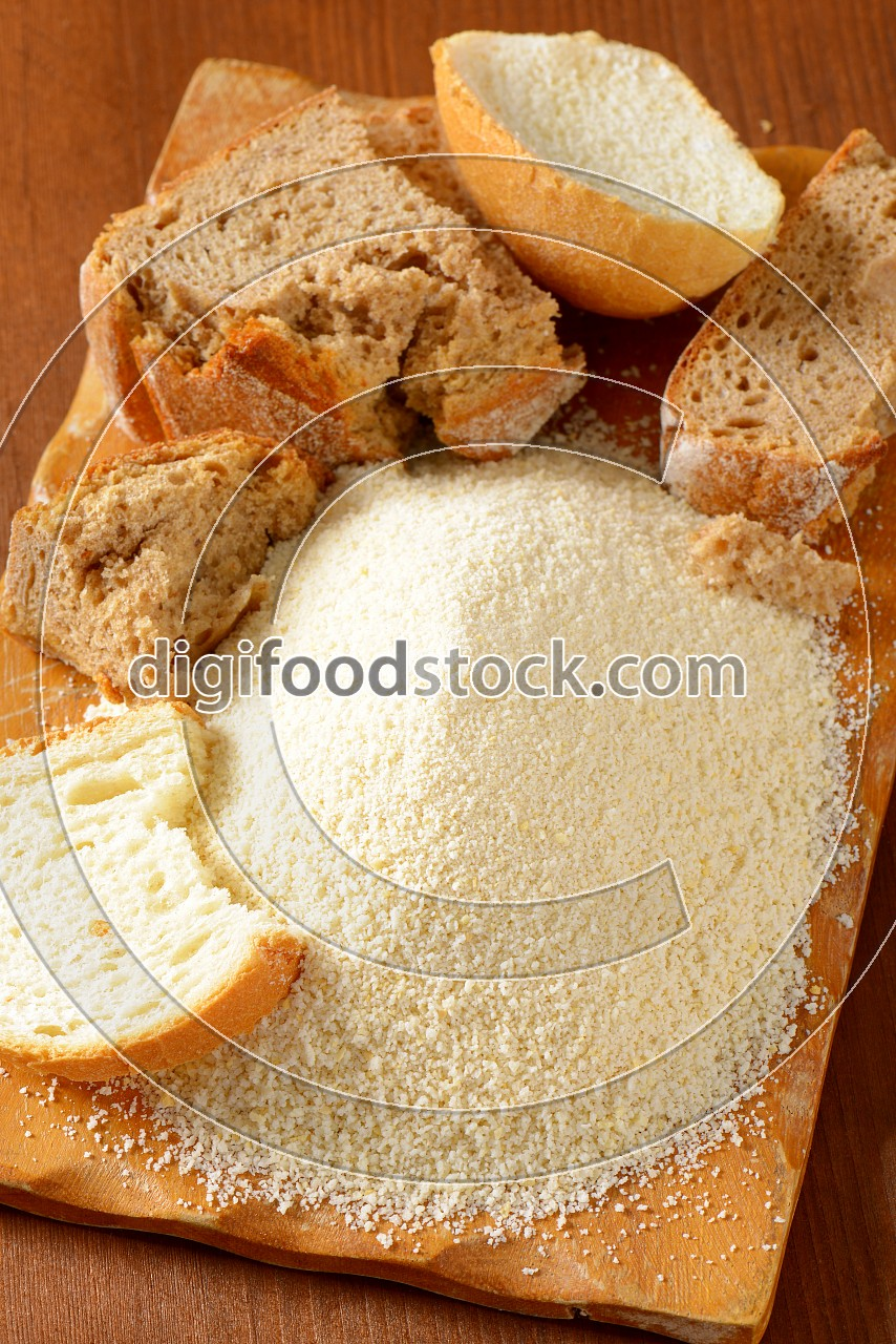 Stale bread and finely ground breadcrumbs