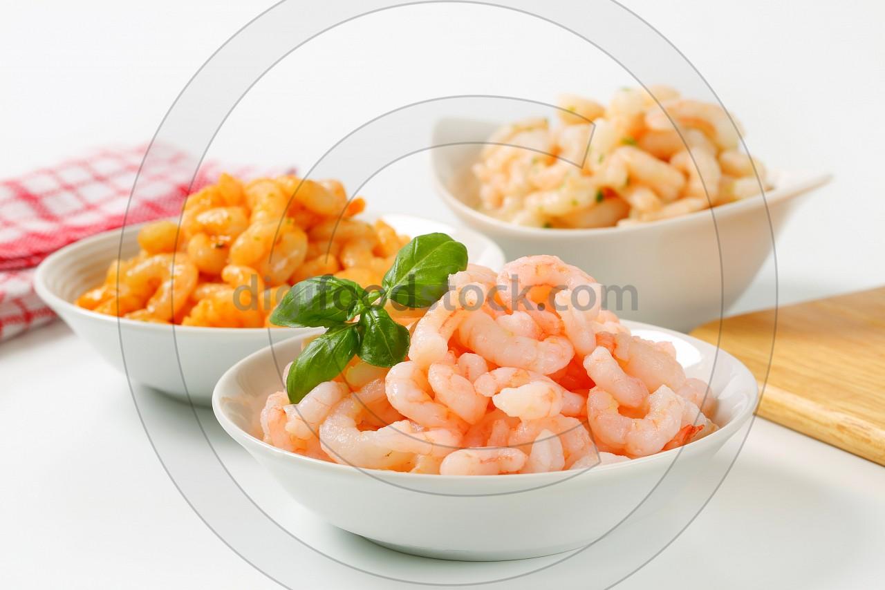Plain and seasoned shrimps